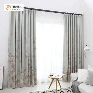 DIHINHOME Home Textile Pastoral Curtain DIHIN HOME Pink Elegant Flowers Printed,Blackout Grommet Window Curtain for Living Room ,52x63-inch,1 Panel