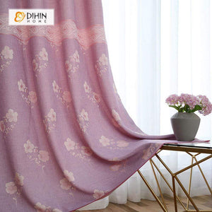 DIHINHOME Home Textile Pastoral Curtain DIHIN HOME Pink Flowers In the Bottom Printed,Blackout Grommet Window Curtain for Living Room ,52x63-inch,1 Panel