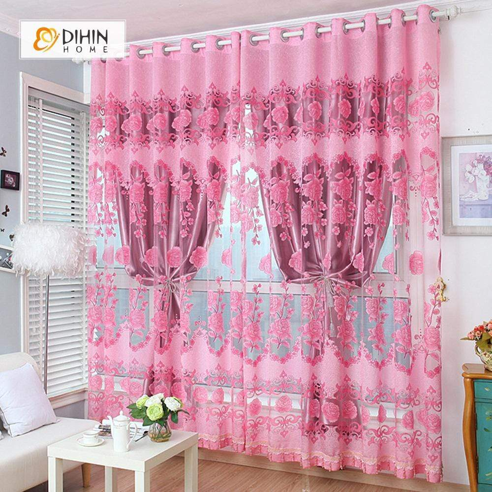 DIHINHOME Home Textile Pastoral Curtain DIHIN HOME Pink Flowers Printed Curtain,Blackout Grommet Window Curtain for Living Room ,52x63-inch,1 Panel