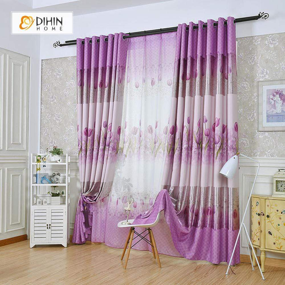 DIHINHOME Home Textile Pastoral Curtain DIHIN HOME Pink Rose Printed,Blackout Grommet Window Curtain for Living Room ,52x63-inch,1 Panel