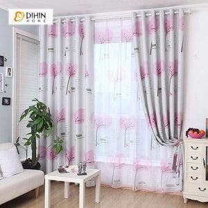 DIHINHOME Home Textile Pastoral Curtain DIHIN HOME Pink Tree Printed,Blackout Grommet Window Curtain for Living Room ,52x63-inch,1 Panel