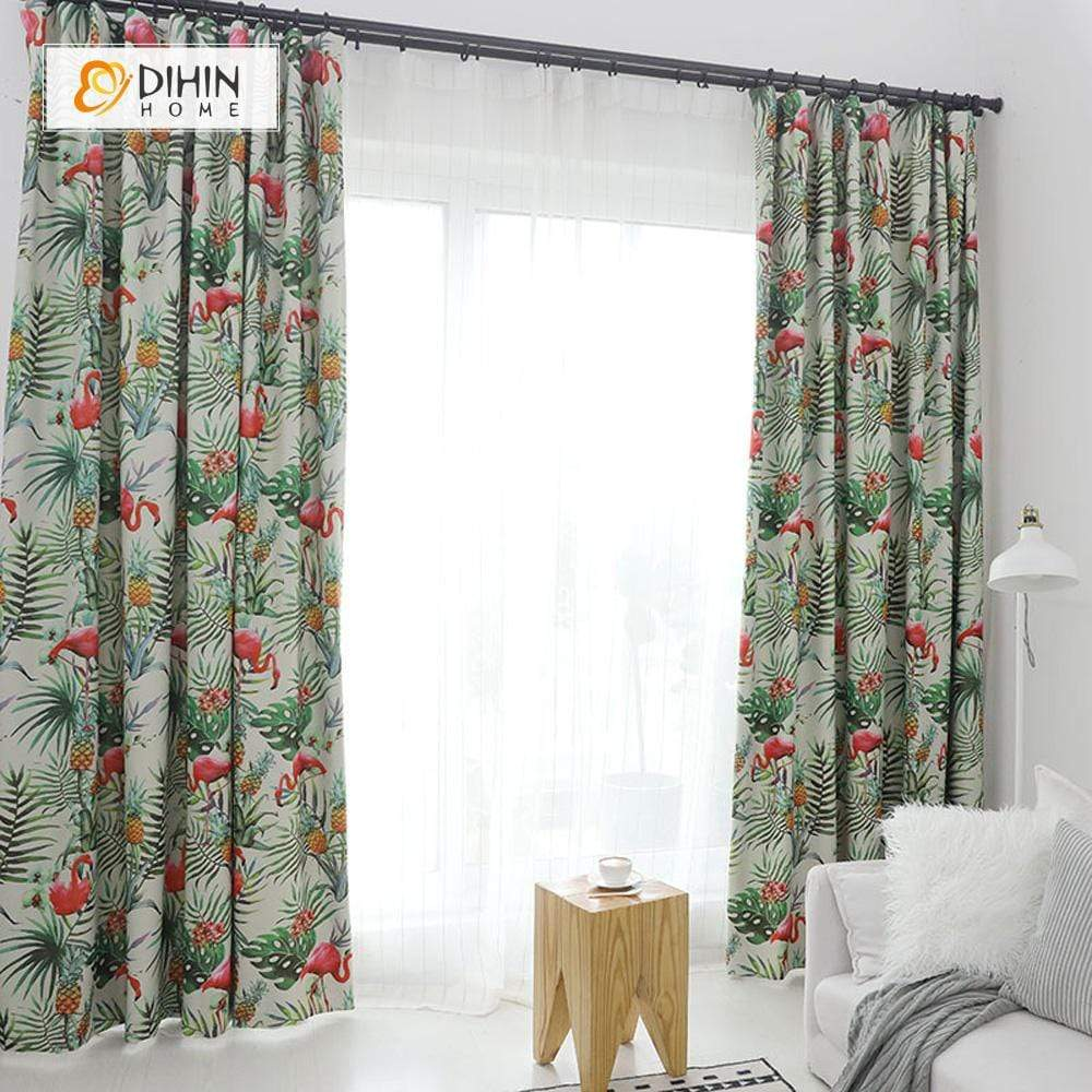 DIHINHOME Home Textile Pastoral Curtain DIHIN HOME Printed Flamingo ,Cotton Linen ,Blackout Grommet Window Curtain for Living Room ,52x63-inch,1 Panel