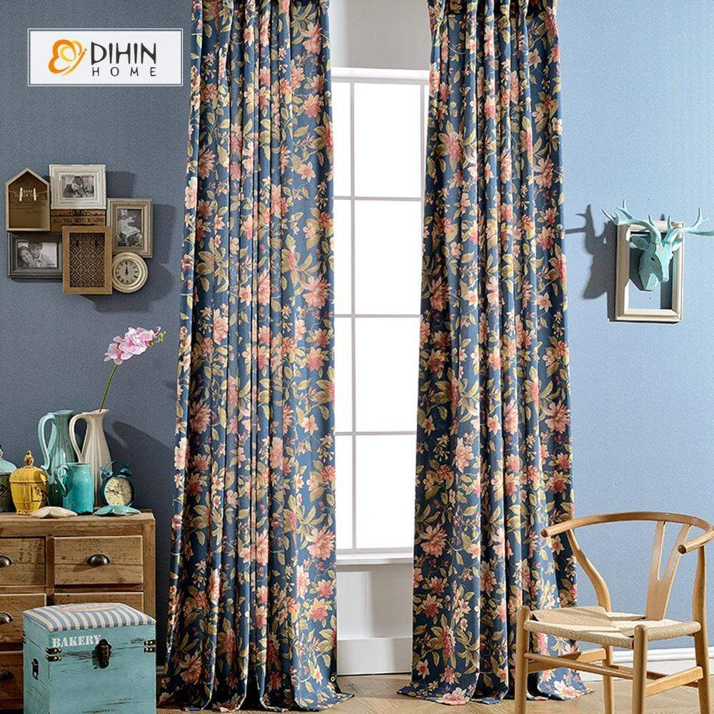DIHINHOME Home Textile Pastoral Curtain DIHIN HOME Printed Forest Curtain ,Cotton Linen ,Blackout Grommet Window Curtain for Living Room ,52x63-inch,1 Panel