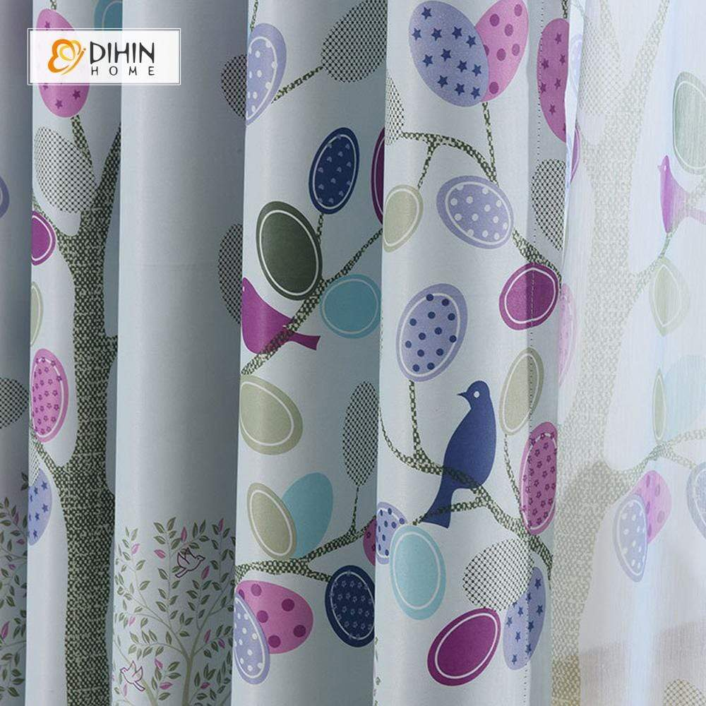 DIHINHOME Home Textile Pastoral Curtain DIHIN HOME Purple Birds and Leaves Printed,Blackout Grommet Window Curtain for Living Room ,52x63-inch,1 Panel
