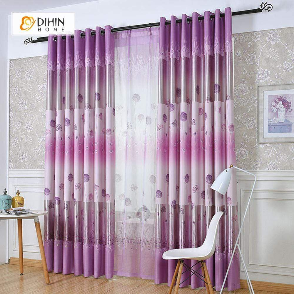 DIHINHOME Home Textile Pastoral Curtain DIHIN HOME Purple Dandelion Printed,Blackout Grommet Window Curtain for Living Room ,52x63-inch,1 Panel