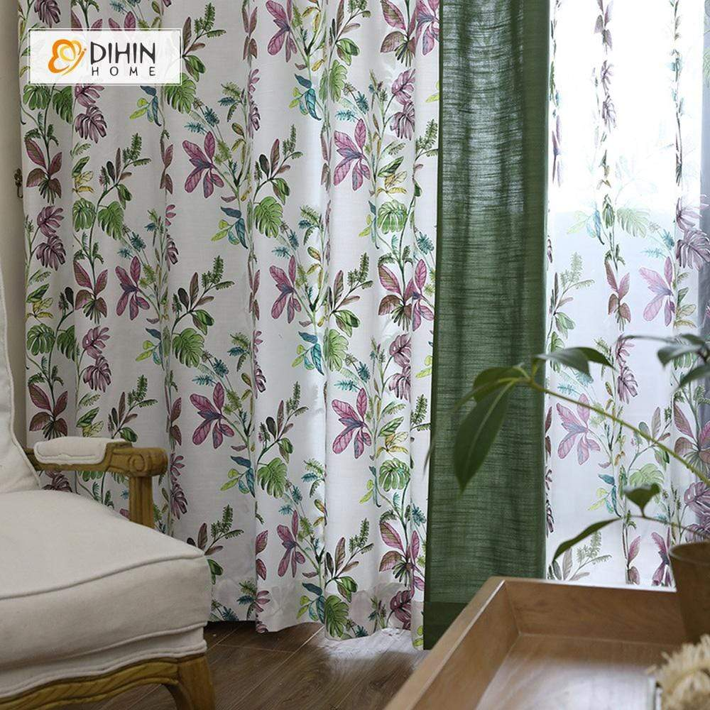 DIHINHOME Home Textile Pastoral Curtain DIHIN HOME Purple Flower and Branch Printed,Blackout Grommet Window Curtain for Living Room ,52x63-inch,1 Panel