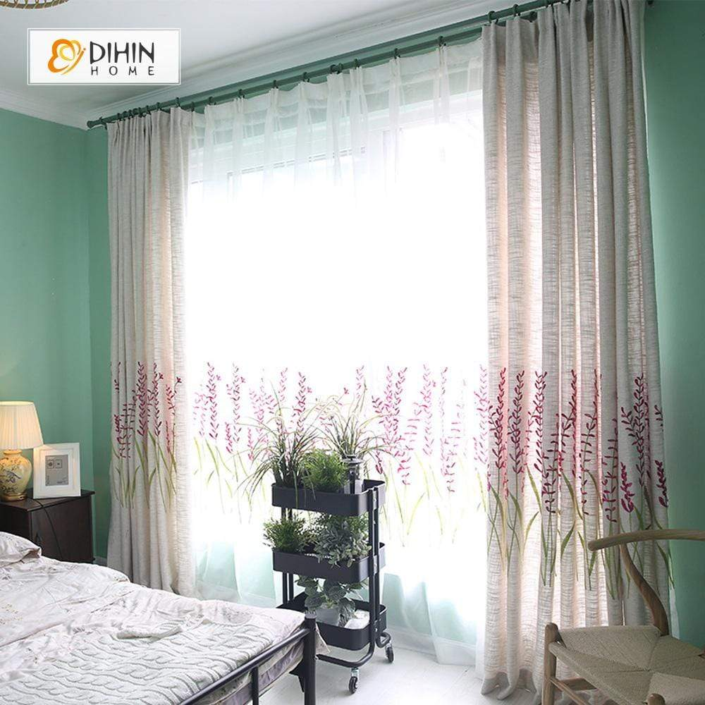 DIHINHOME Home Textile Pastoral Curtain DIHIN HOME Purple Flowers Embroidered,Blackout Grommet Window Curtain for Living Room ,52x63-inch,1 Panel