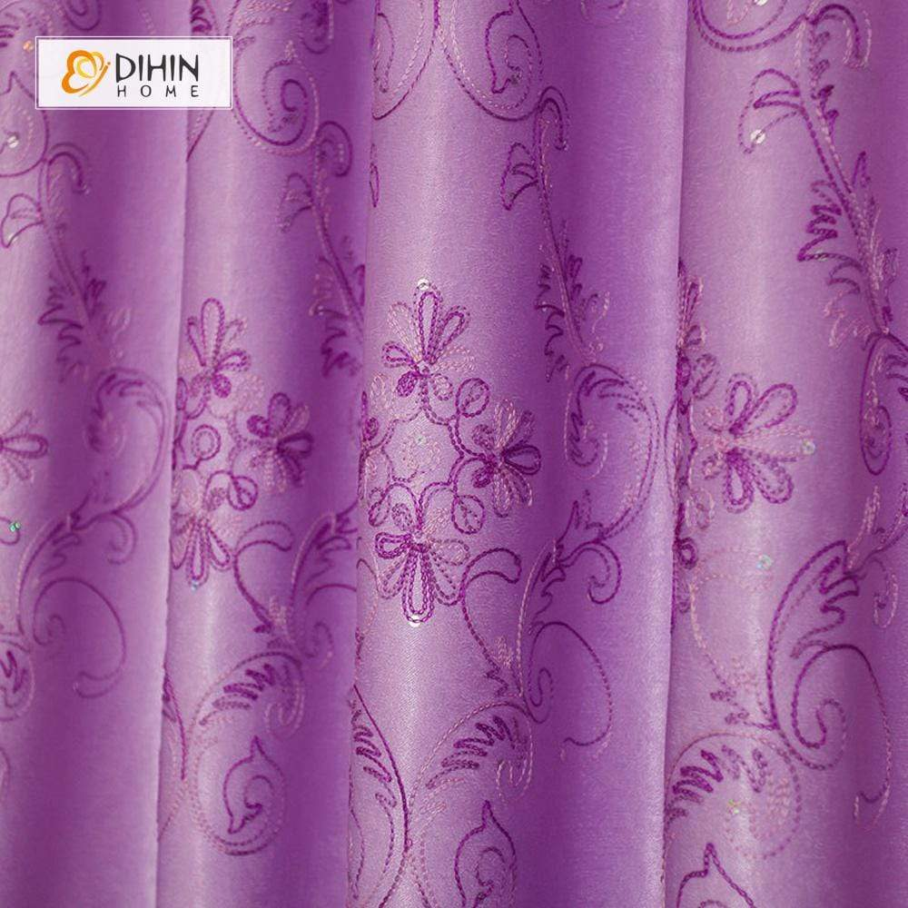 DIHINHOME Home Textile Pastoral Curtain DIHIN HOME Purple Neat Flowers Printed,Blackout Grommet Window Curtain for Living Room ,52x63-inch,1 Panel