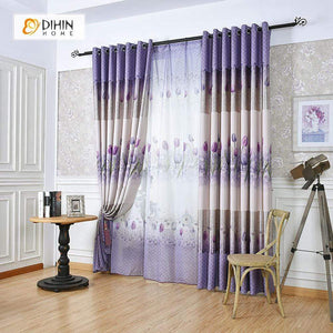 DIHINHOME Home Textile Pastoral Curtain DIHIN HOME Purple Rose Printed,Blackout Grommet Window Curtain for Living Room ,52x63-inch,1 Panel