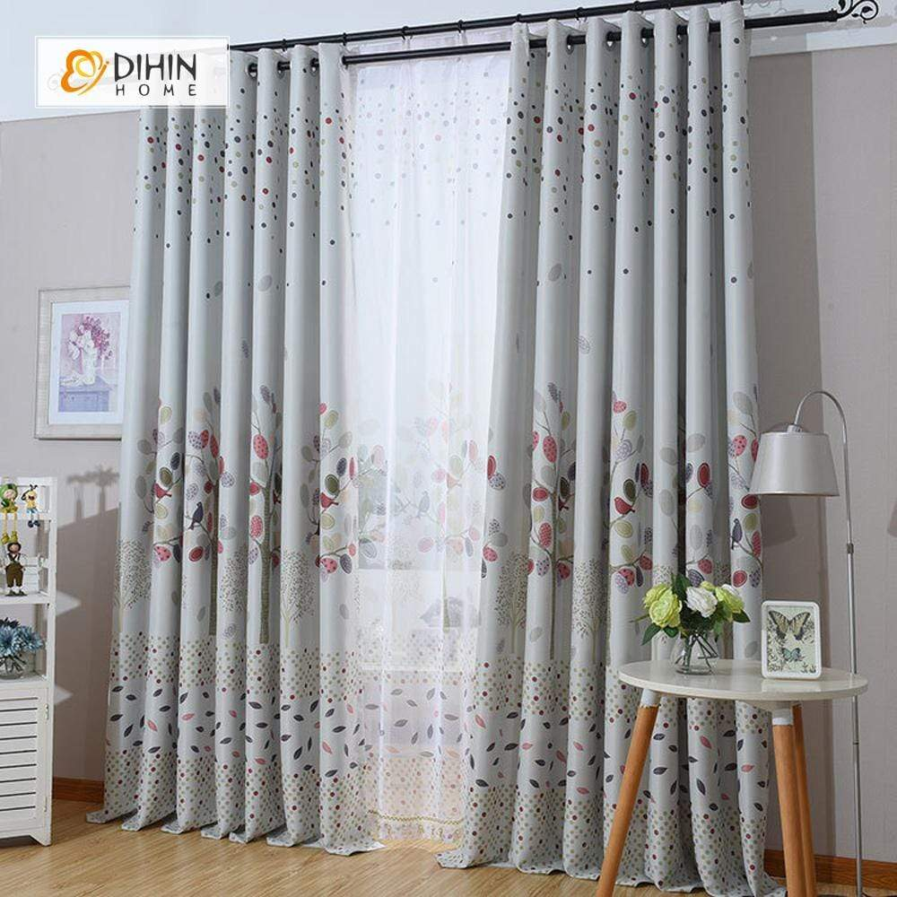 DIHINHOME Home Textile Pastoral Curtain DIHIN HOME Red Birds and Leaves Printed,Blackout Grommet Window Curtain for Living Room ,52x63-inch,1 Panel