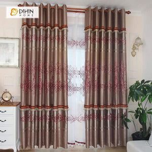 DIHINHOME Home Textile Pastoral Curtain DIHIN HOME Red Crowd Flowers Printed,Blackout Grommet Window Curtain for Living Room ,52x63-inch,1 Panel