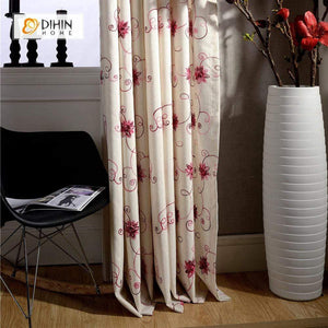DIHINHOME Home Textile Pastoral Curtain DIHIN HOME Red Flower Embroidered Curtain ,Cotton Linen ,Blackout Grommet Window Curtain for Living Room ,52x63-inch,1 Panel