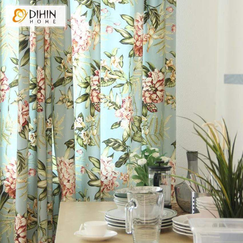 DIHINHOME Home Textile Pastoral Curtain DIHIN HOME Red Flowers Green Leaves Printed,Blackout Grommet Window Curtain for Living Room ,52x63-inch,1 Panel