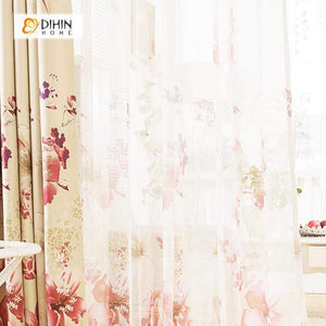 DIHINHOME Home Textile Pastoral Curtain DIHIN HOME Red Large Flowers Printed,Blackout Grommet Window Curtain for Living Room ,52x63-inch,1 Panel