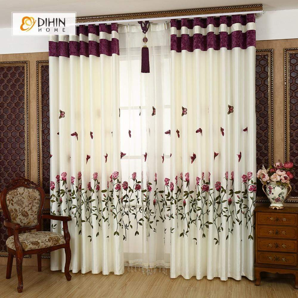 DIHINHOME Home Textile Pastoral Curtain DIHIN HOME Red Roses and Butterflies Printed,Blackout Grommet Window Curtain for Living Room ,52x63-inch,1 Panel