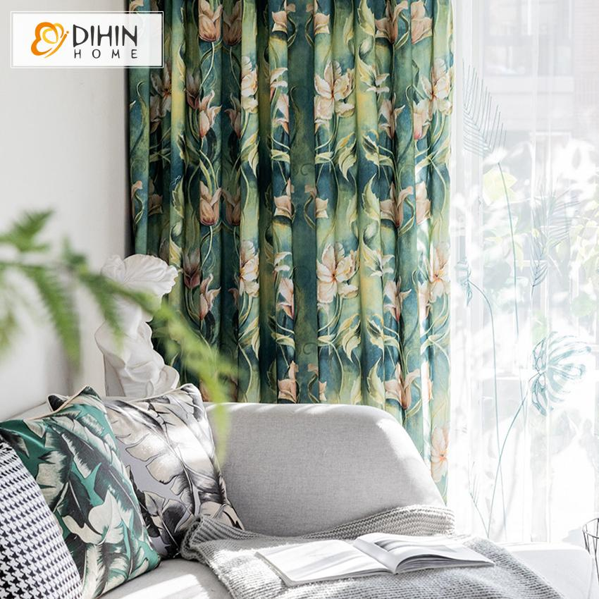 DIHINHOME Home Textile Pastoral Curtain DIHIN HOME Retro Ink Painting Printed,Blackout Grommet Window Curtain for Living Room ,52x63-inch,1 Panel