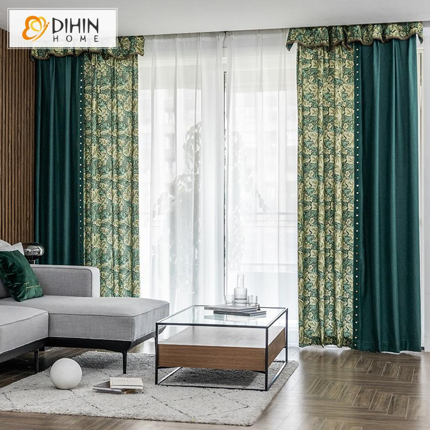 DIHINHOME Home Textile Pastoral Curtain DIHIN HOME Retro Pastoral Green Leaves Printed,Blackout Grommet Window Curtain for Living Room ,52x63-inch,1 Panel