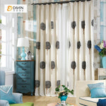 DIHINHOME Home Textile Pastoral Curtain DIHIN HOME  Round Trees Embroidered ,Cotton Linen ,Blackout Grommet Window Curtain for Living Room ,52x63-inch,1 Panel