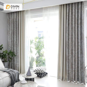 DIHINHOME Home Textile Pastoral Curtain DIHIN HOME Silver Intensive Leaves Printed,Blackout Grommet Window Curtain for Living Room ,52x63-inch,1 Panel