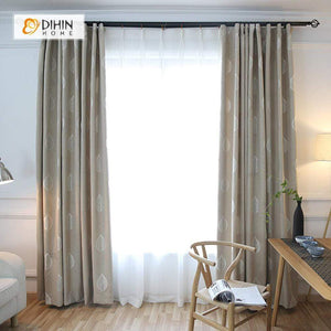 DIHINHOME Home Textile Pastoral Curtain DIHIN HOME Silver Leaves Printed,Blackout Grommet Window Curtain for Living Room ,52x63-inch,1 Panel