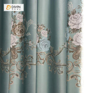 DIHINHOME Home Textile Pastoral Curtain DIHIN HOME SImple Blue Flower Printed,Blackout Grommet Window Curtain for Living Room ,52x63-inch,1 Panel