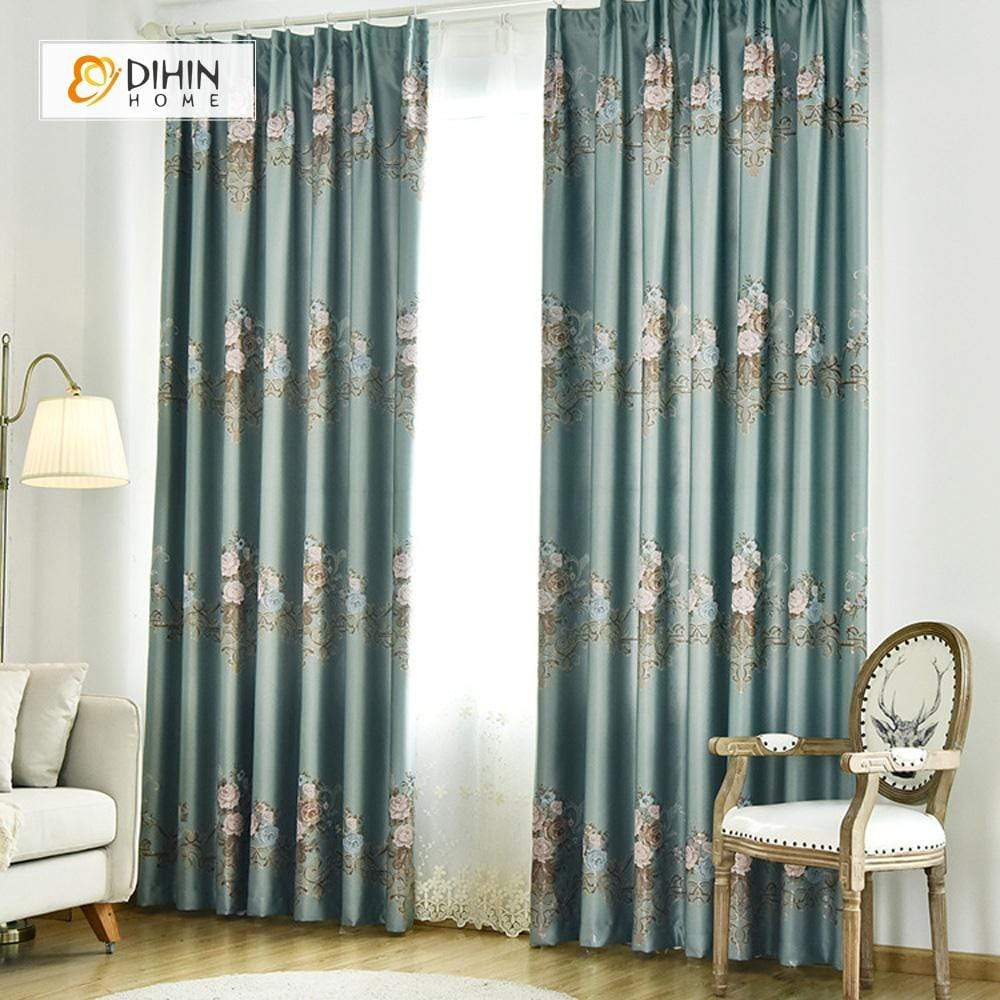 DIHIN HOME SImple Blue Flower Printed,Blackout Grommet Window Curtain for Living Room ,52x63-inch,1 Panel