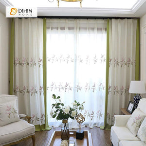 DIHINHOME Home Textile Pastoral Curtain DIHIN HOME Simple Leaves Embroidered,Blackout Grommet Window Curtain for Living Room ,52x63-inch,1 Panel