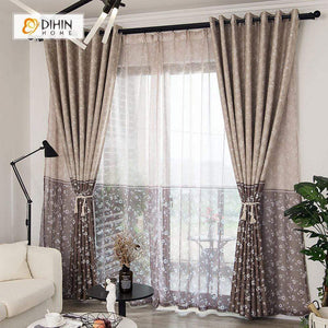 DIHINHOME Home Textile Pastoral Curtain DIHIN HOME Small Flowers Printed,Blackout Grommet Window Curtain for Living Room ,52x63-inch,1 Panel