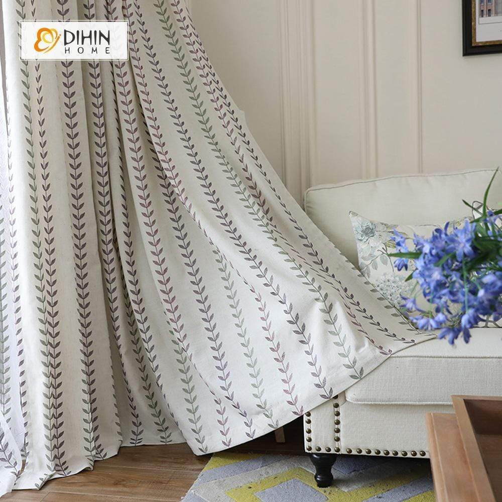 DIHINHOME Home Textile Pastoral Curtain DIHIN HOME Straight-Line Leaves Embroidered,Blackout Grommet Window Curtain for Living Room ,52x63-inch,1 Panel