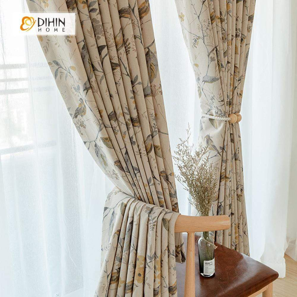 DIHINHOME Home Textile Pastoral Curtain DIHIN HOME Thickness Flower and Bird Printed Curtains ,Cotton Linen ,Blackout Grommet Window Curtain for Living Room ,52x63-inch,1 Panel