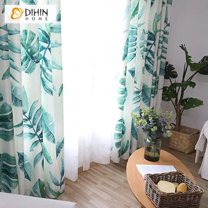 DIHINHOME Home Textile Pastoral Curtain DIHIN HOME Tropical Pastoral 3D Banana Leaves Printed,Blackout Grommet Window Curtain for Living Room ,52x63-inch,1 Panel