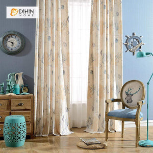 DIHINHOME Home Textile Pastoral Curtain DIHIN HOME Undersea World Printed Curtain ,Cotton Linen ,Blackout Grommet Window Curtain for Living Room ,52x63-inch,1 Panel