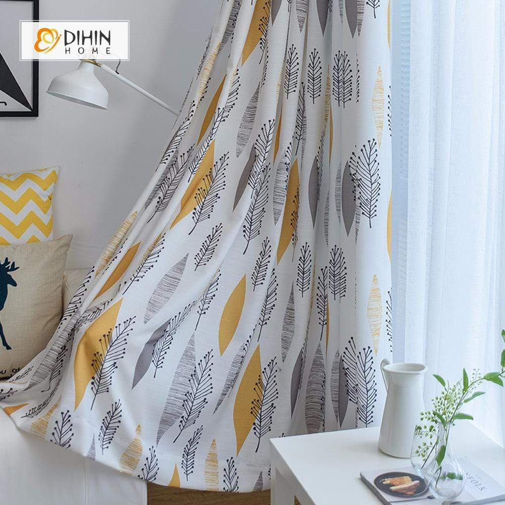 DIHINHOME Home Textile Pastoral Curtain DIHIN HOME Veins And Leaves Printed ,Cotton Linen ,Blackout Grommet Window Curtain for Living Room ,52x63-inch,1 Panel