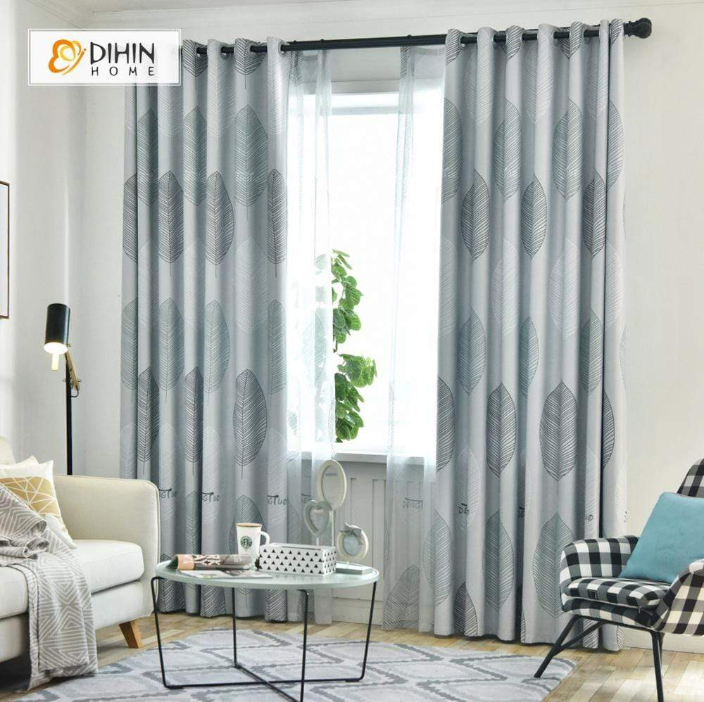 DIHINHOME Home Textile Pastoral Curtain DIHIN HOME White and Black Lines Leaves Printed,Blackout Grommet Window Curtain for Living Room ,52x63-inch,1 Panel