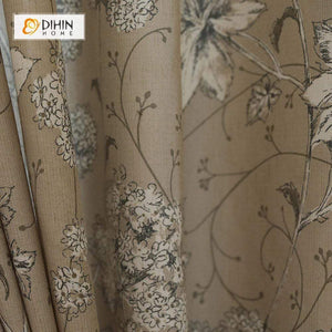 DIHINHOME Home Textile Pastoral Curtain DIHIN HOME White Flowers Coffee Background Printed,Blackout Grommet Window Curtain for Living Room ,52x63-inch,1 Panel