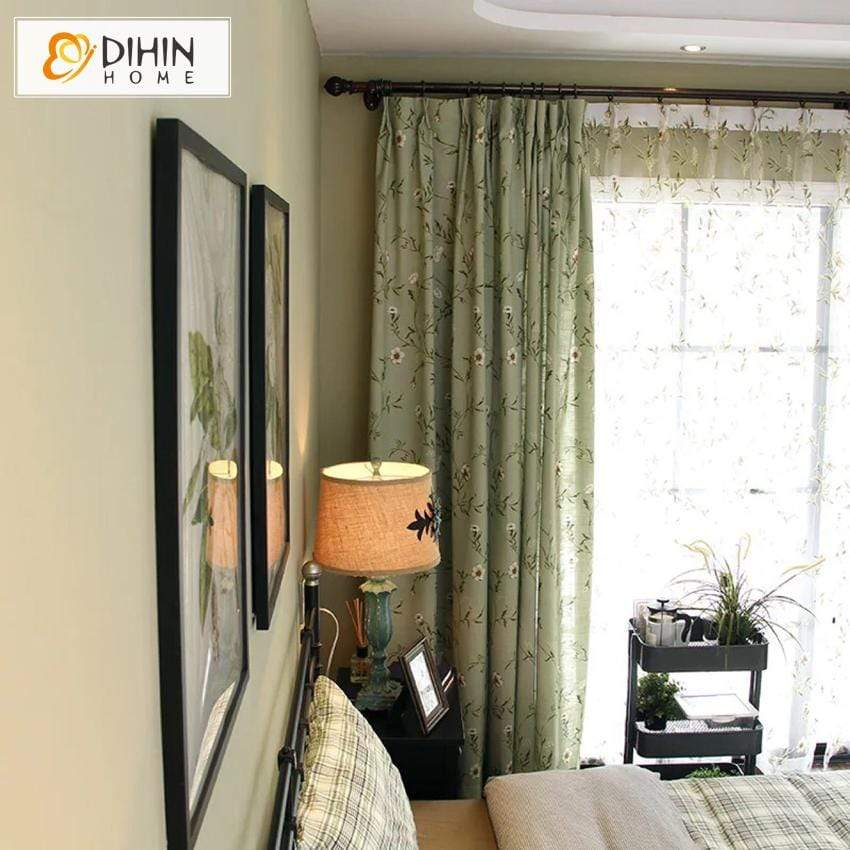 DIHINHOME Home Textile Pastoral Curtain DIHIN HOME White Flowers Green Background Printed,,Blackout Grommet Window Curtain for Living Room ,52x63-inch,1 Panel