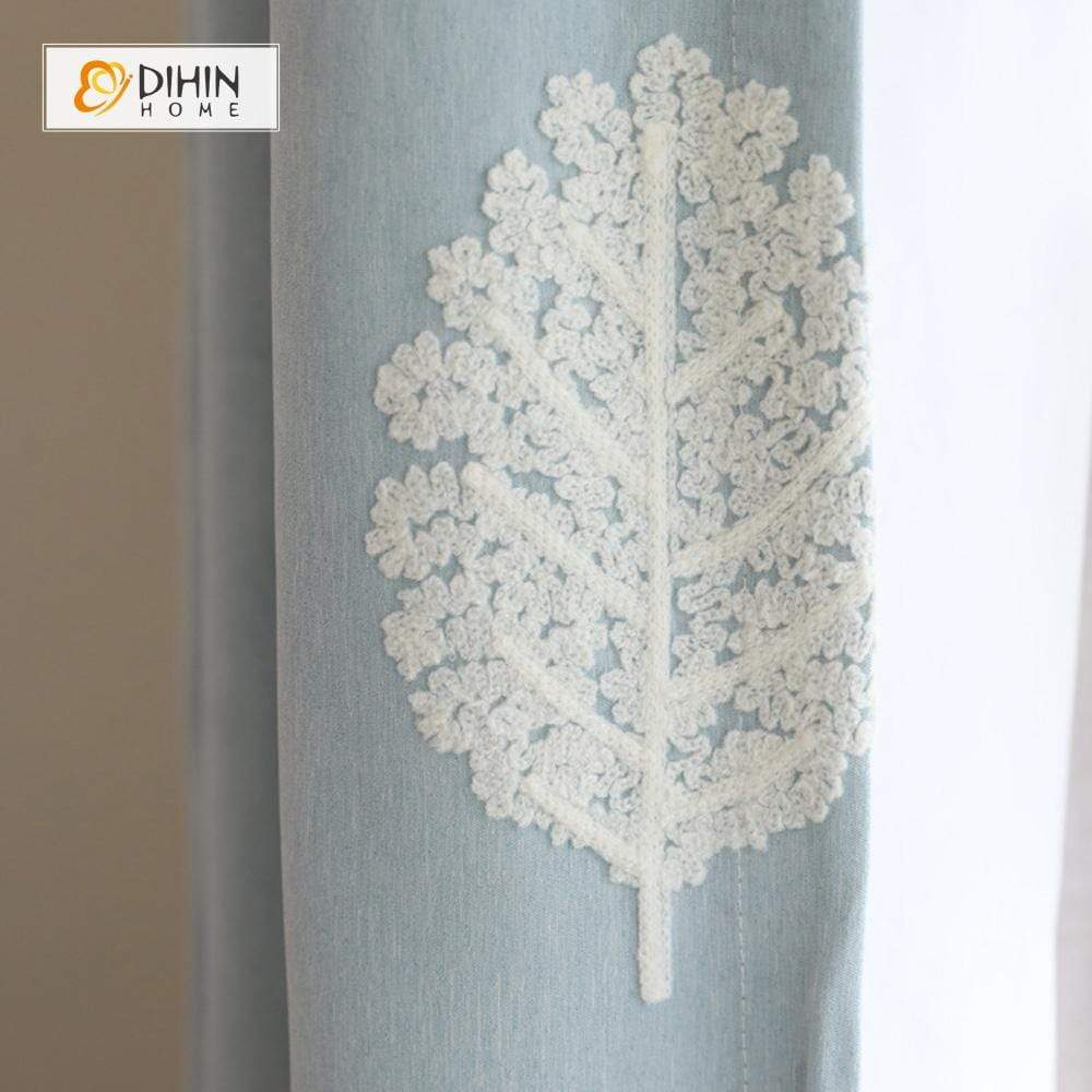 DIHINHOME Home Textile Pastoral Curtain DIHIN HOME White Leaves Embroiderded ,Cotton Linen ,Blackout Grommet Window Curtain for Living Room ,52x63-inch,1 Panel