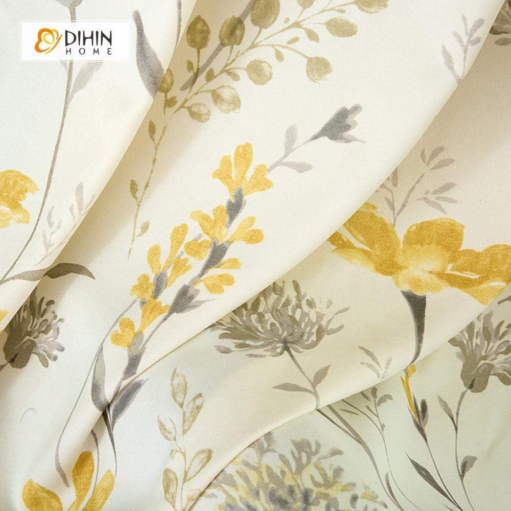 DIHINHOME Home Textile Pastoral Curtain DIHIN HOME Yellow Flower and Branch Printed,Blackout Grommet Window Curtain for Living Room ,52x63-inch,1 Panel