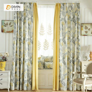DIHINHOME Home Textile Pastoral Curtain DIHIN HOME Yellow Flowers Grey leaves Printed,Blackout Grommet Window Curtain for Living Room ,52x63-inch,1 Panel