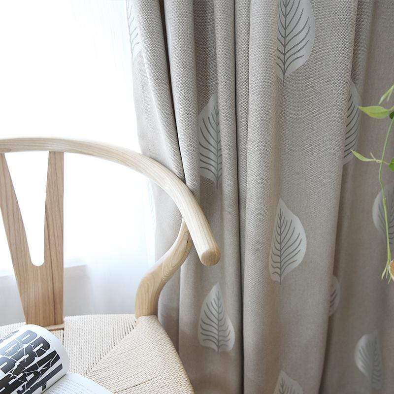DIHINHOME Home Textile Pastoral Curtain Garden Leaves Printed Blackout Curtains Window Drapes For Living Room