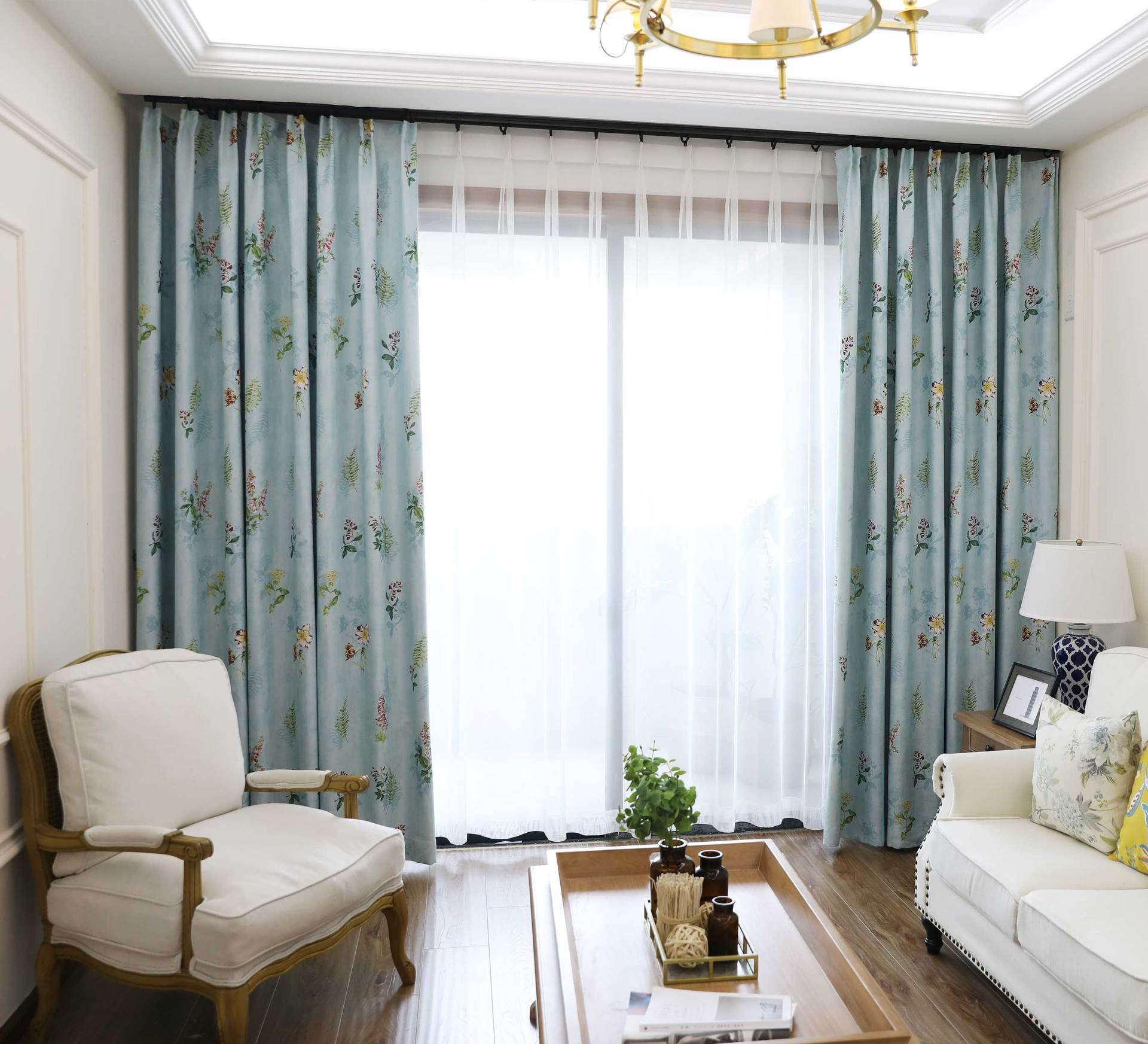 DIHINHOME Home Textile Pastoral Curtain Garden Printing Flower Blackout Curtains Window Drapes For Living Room