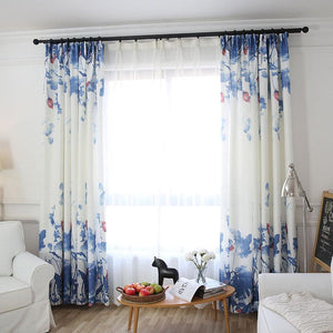 DIHINHOME Home Textile Pastoral Curtain Garden Printing Flower Custom Made Blackout Curtains Window Treatment