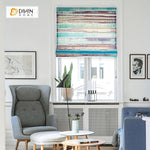 "DIHINHOME Home Textile Roman Blind DIHIN HOME Abstract Color Printed Roman Shades ,Easy Install Washable Curtains ,Customized Window Curtain Drape, 24""W X 64""H"