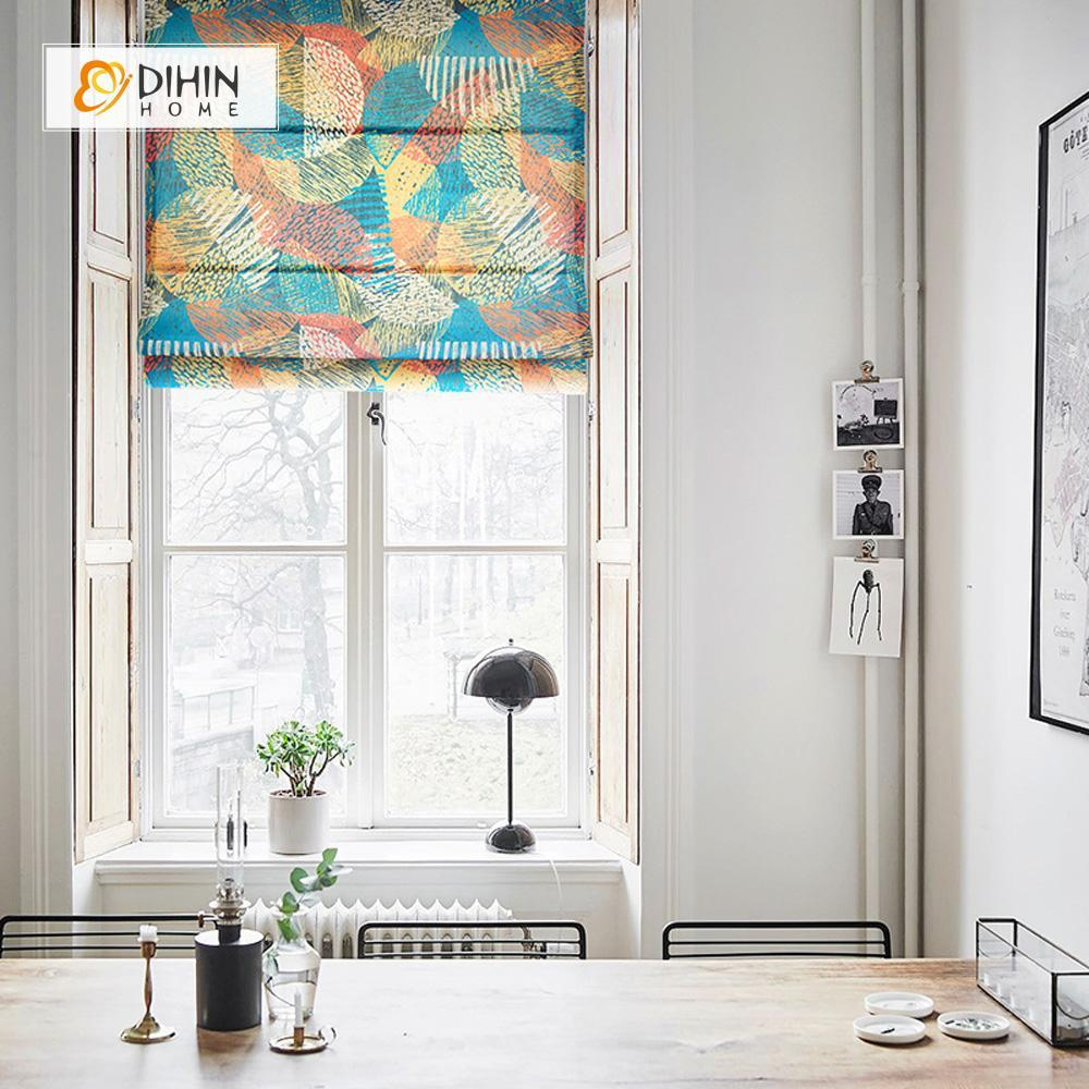 "DIHINHOME Home Textile Roman Blind DIHIN HOME Abstract Painting Printed Roman Shades ,Easy Install Washable Curtains ,Customized Window Curtain Drape, 24""W X 64""H"