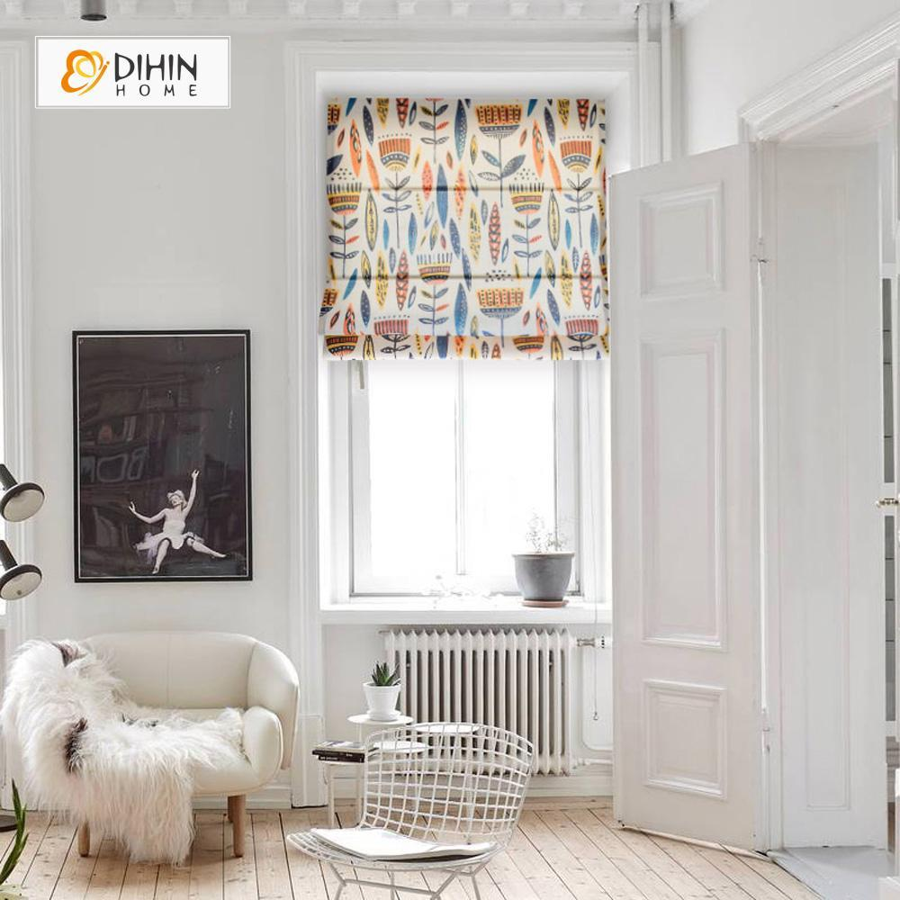 "DIHINHOME Home Textile Roman Blind DIHIN HOME Abstract Plant Printed Roman Shades ,Easy Install Washable Curtains ,Customized Window Curtain Drape, 24""W X 64""H"