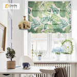 "DIHINHOME Home Textile Roman Blind DIHIN HOME Big Green Leaves Printed Roman Shades ,Easy Install Washable Curtains ,Customized Window Curtain Drape, 24""W X 64""H"
