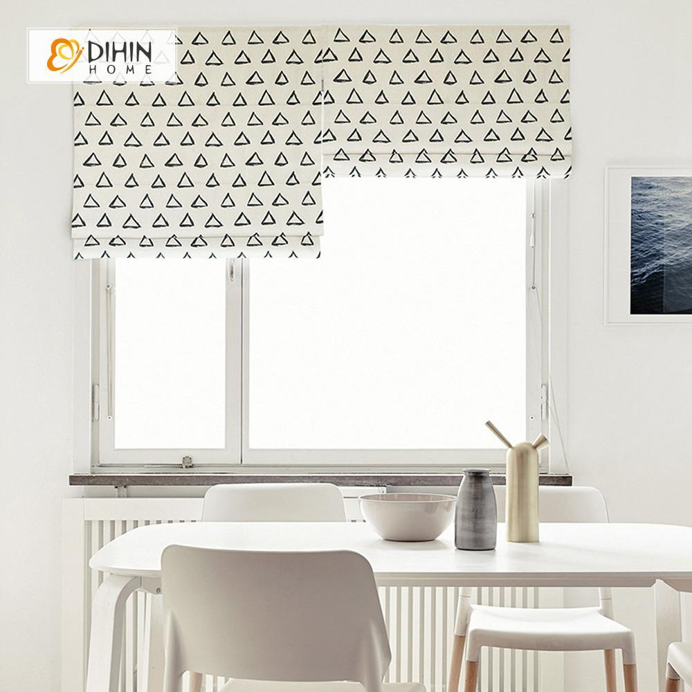 "DIHINHOME Home Textile Roman Blind DIHIN HOME Black Empty Triangle Printed Roman Shades ,Easy Install Washable Curtains ,Customized Window Curtain Drape, 24""W X 64""H"