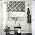 "DIHINHOME Home Textile Roman Blind DIHIN HOME Black Leaves Printed Roman Shades ,Easy Install Washable Curtains ,Customized Window Curtain Drape, 24""W X 64""H"