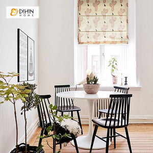 "DIHINHOME Home Textile Roman Blind DIHIN HOME Cactus Printed Roman Shades ,Easy Install Washable Curtains ,Customized Window Curtain Drape, 24""W X 64""H"