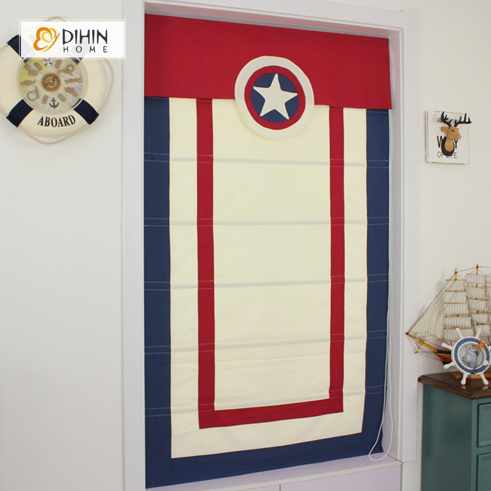 "DIHINHOME Home Textile Roman Blind DIHIN HOME Captain America Color Printed Roman Shades ,Easy Install Washable Curtains ,Customized Window Curtain Drape, 24""W X 64""H"